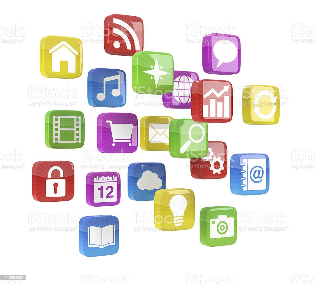 colorful app icons royalty-free stock photo