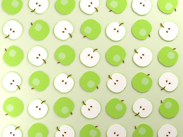 fond de nourriture de pommes colorées - design plat photos et images de collection