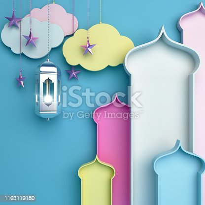 istock Colorful arabic window, cloud, lantern, star on blue background. Design concept of islamic celebration day ramadan kareem or eid al fitr adha, hajj, hijri, mawlid. 1163119150