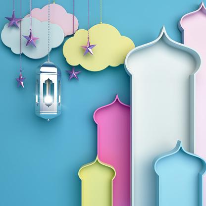 istock Colorful arabic window, cloud, lantern, star on blue background. Design concept of islamic celebration day ramadan kareem or eid al fitr adha, hajj, hijri, mawlid. 1163119150