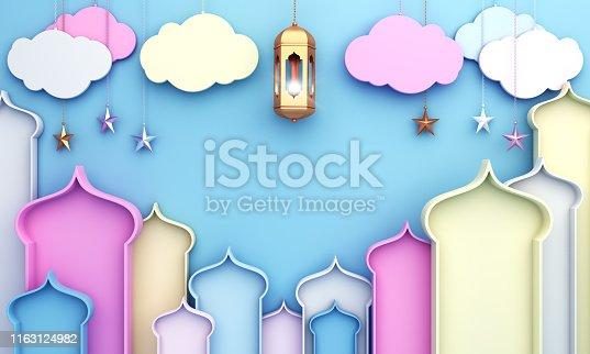 istock Colorful arabic window, cloud, lantern, star on blue background. Design concept of islamic celebration day ramadan kareem or eid al fitr adha, hajj, hijri, mawlid. 1163124982