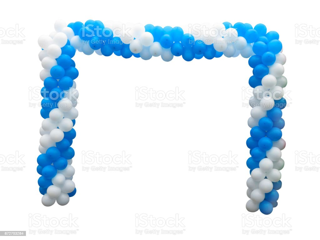 Colorful arch of white and blue balloons isolated over background stock photo