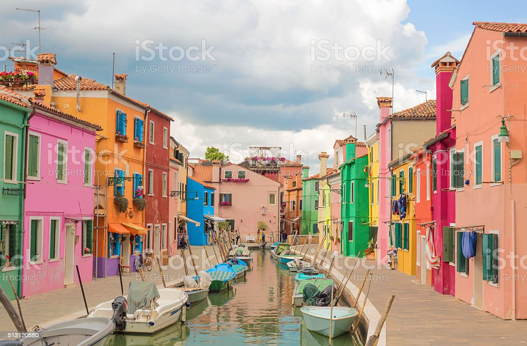 Colorful architectural buildings stock photo