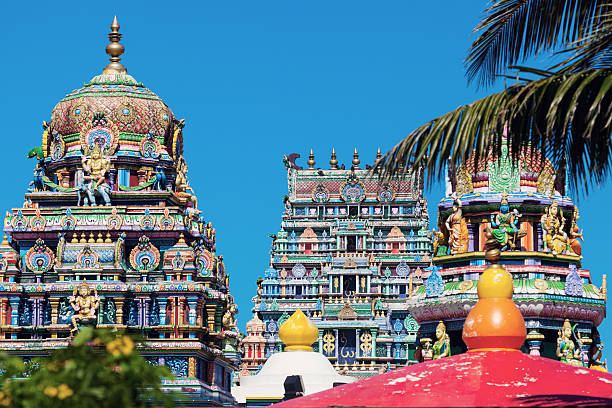colorful architecture of hindu temple in nadi - fiji stock photos and pictures