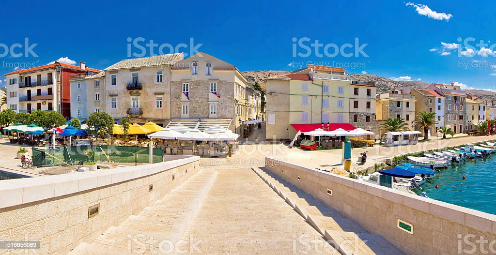 Colorful architecture of Pag island stock photo
