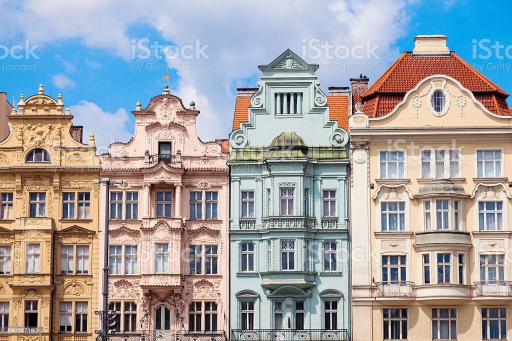 Colorful architecture of  Square of the Republic in Pilsen stock photo