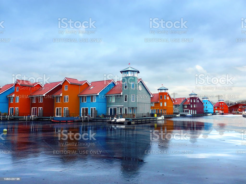 Colorful architecture on the water in Groningen, the Netherlands stock photo