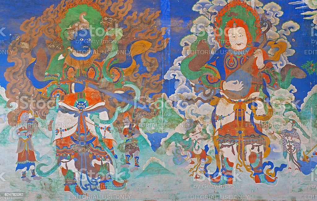 colorful architecture ornament Bhudda paint at Likr Monastery, Leh India stock photo