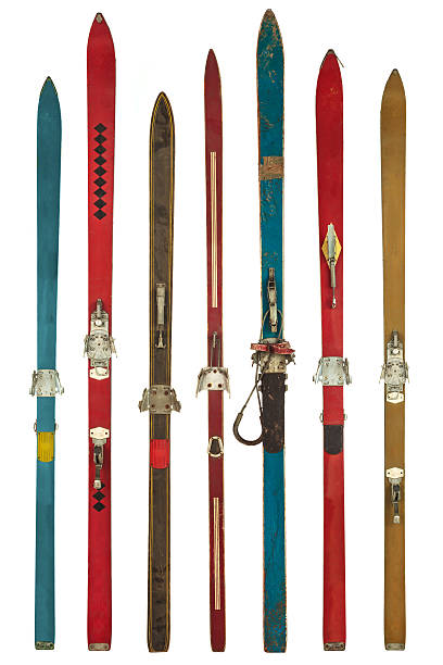 Colorful array of skis of different lengths and widths stock photo