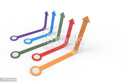 istock Colorful arrow. Growing business concept.3D rendering. 975704200