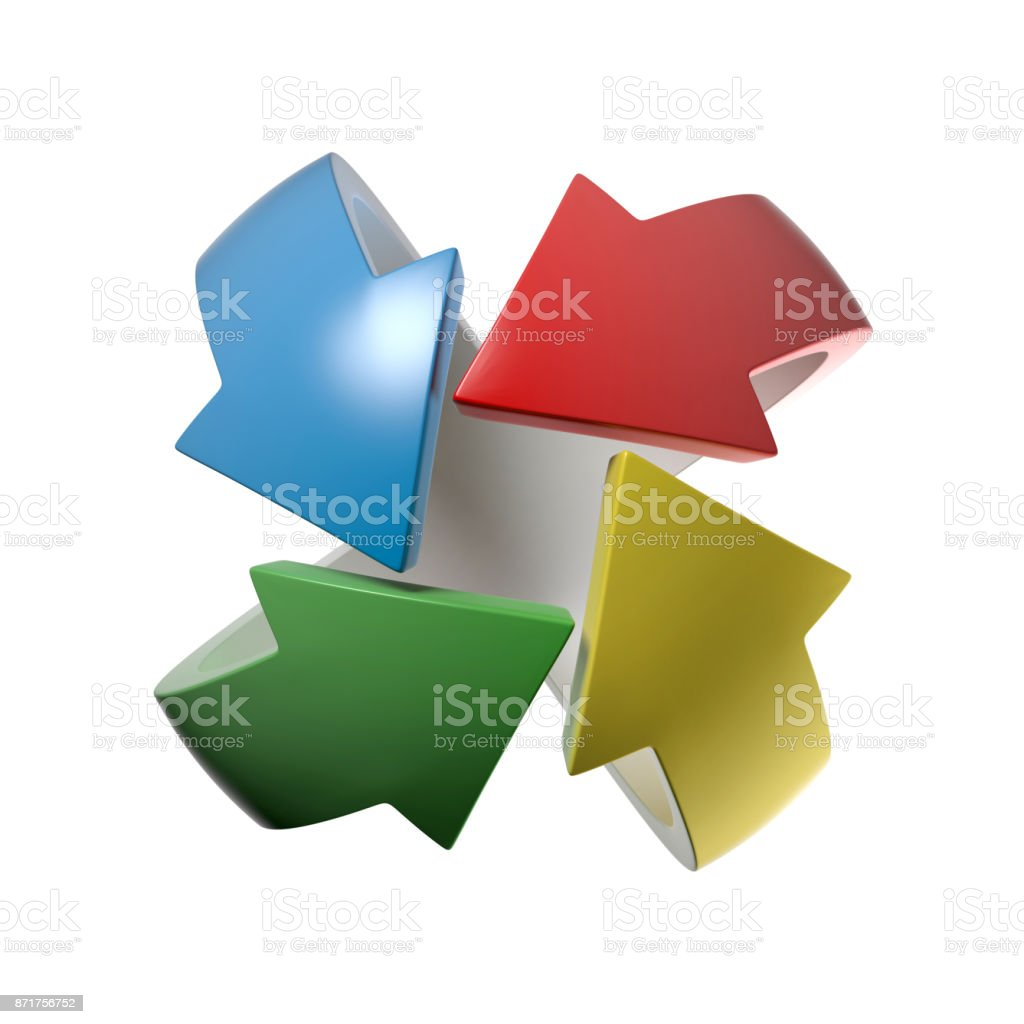 Colorful arrows  3d rendering illustration stock photo