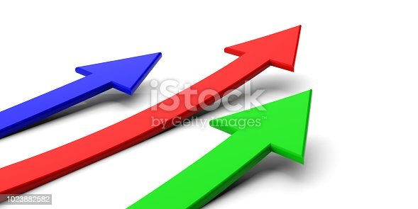 486439381istockphoto Colorful arrows on white background. 3d illustration 1023882582