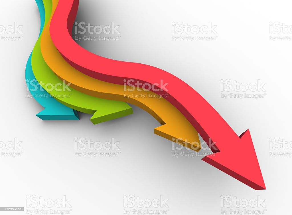 Colorful arrows pointing downward stock photo