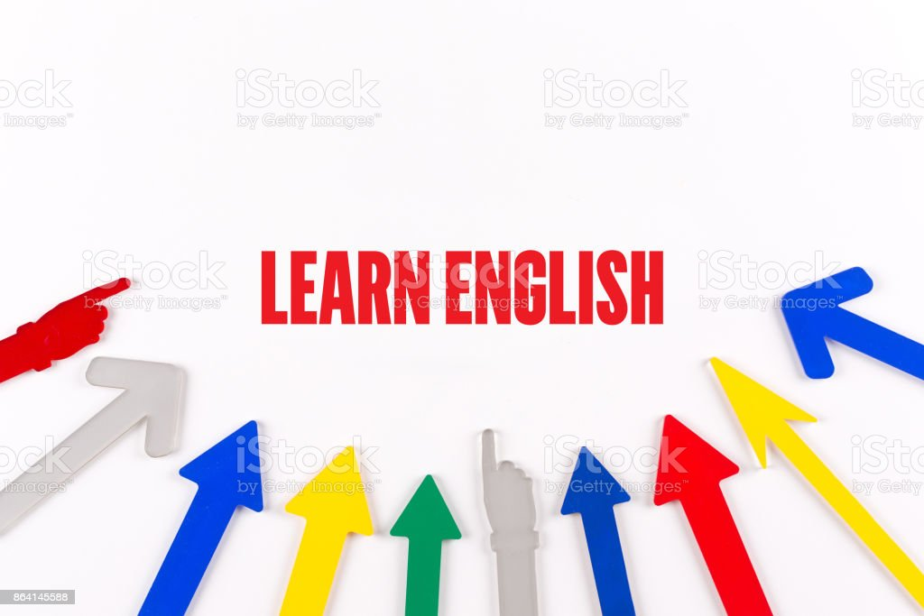 Colorful Arrows Showing to Center with a word LEARN ENGLISH royalty-free stock photo