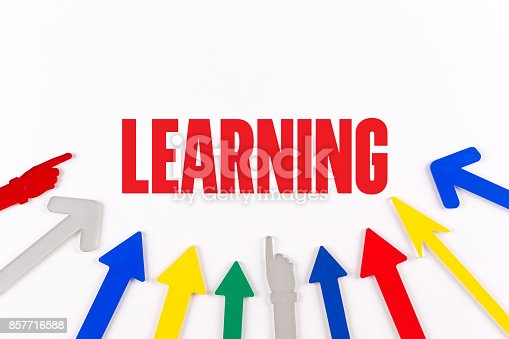 850892616 istock photo Colorful Arrows Showing to Center with a word LEARNING 857716588