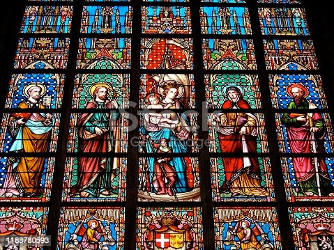 Stained glass Ghent church Belgium