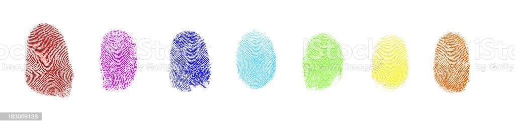 Colorful Art Paint Isolated Fingerprint On White Background royalty-free stock photo