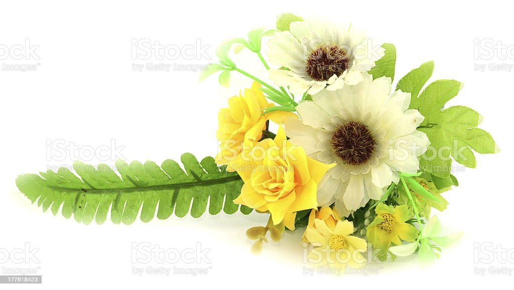 Colorful Artificial Flower Arrangement on white background royalty-free stock photo