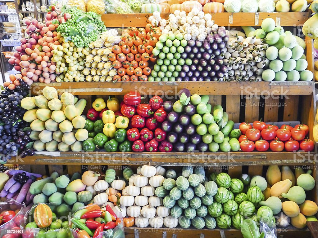 Colorful artificial fruits. stock photo