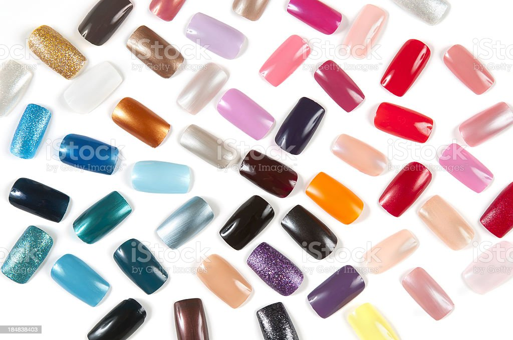Colorful Artificial nails stock photo