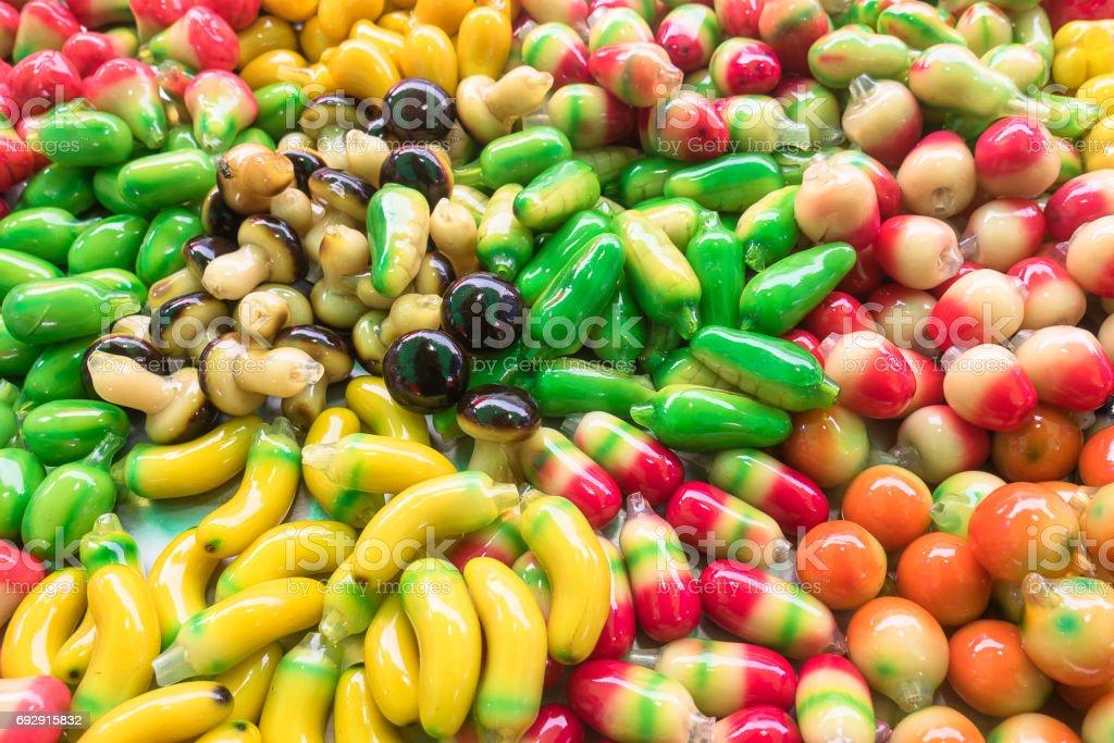 Colorful Asian delicious deletable imitation fruits. stock photo
