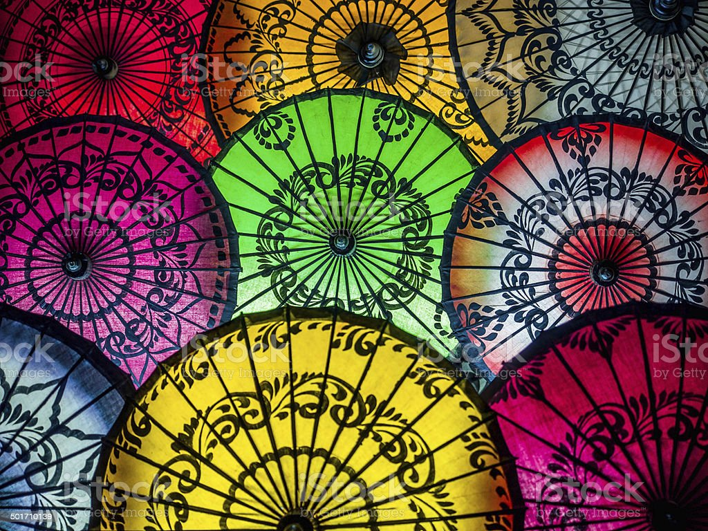 Colorful Asian Umbrellas at Traditional Burmese Street Market stock photo