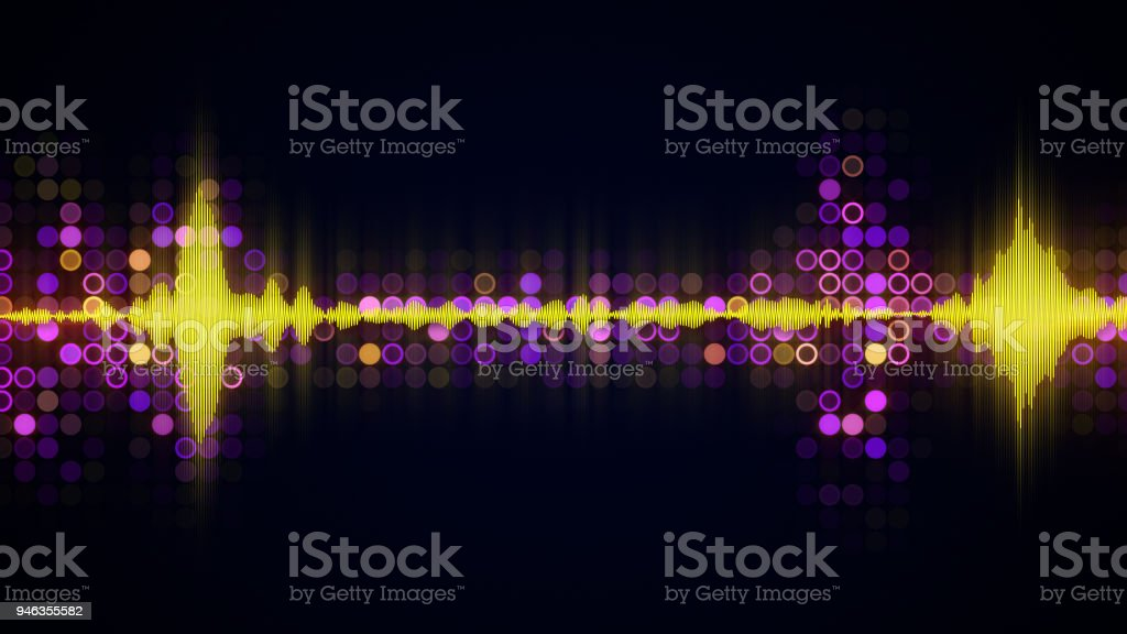 Colorful audio waveform equalizer abstract techno background stock photo