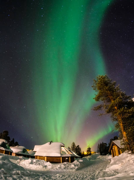 Colorful Aurora Borealis, Finland stock photo