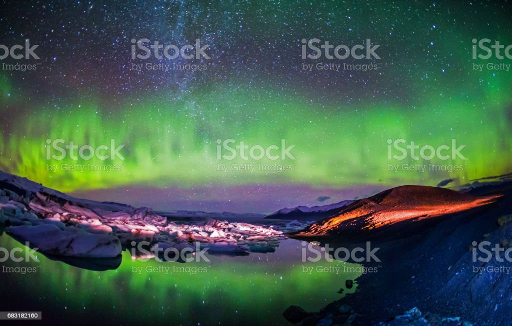 Colorful Aurora Borealis stock photo