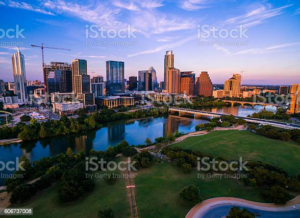 Colorful Austin Texas Skyline Aerial Golden Sunset Stock Photo - Download Image Now