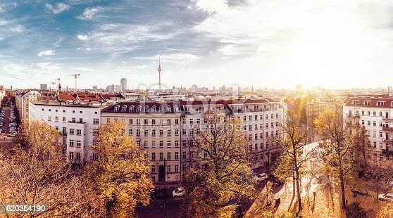 colorful autumn Berlin cityscape seen from tower of the zionskirche