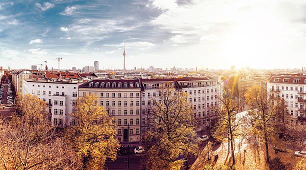 colorful autumn berlin cityscape seen from tower of the zionskirche - berlin mitte stock-fotos und bilder