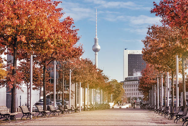colorful autumn berlin scene with television tower - グローサーシュテルン広場 ストックフォトと画像