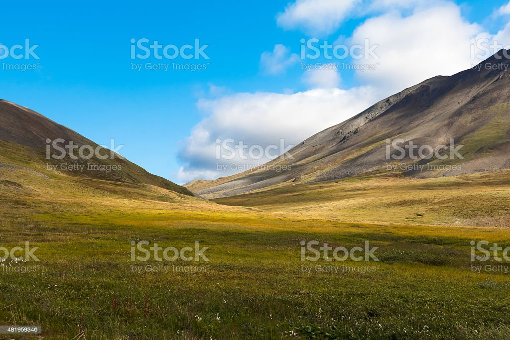 Colorful autumn Chukotka tundra, Arctic Circle Russia stock photo