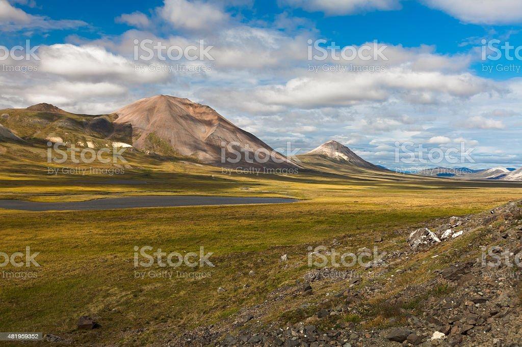 Colorful autumn Chukotka tundra, Chukotka. Russia stock photo
