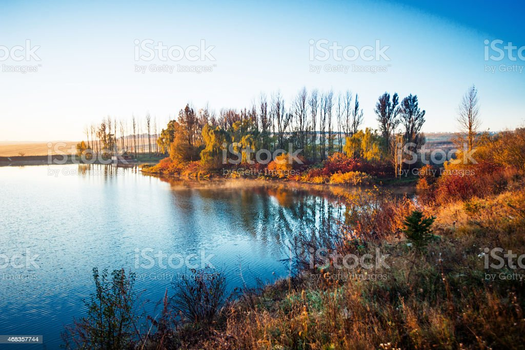 Colorful autumn foliage on Lake royalty-free stock photo