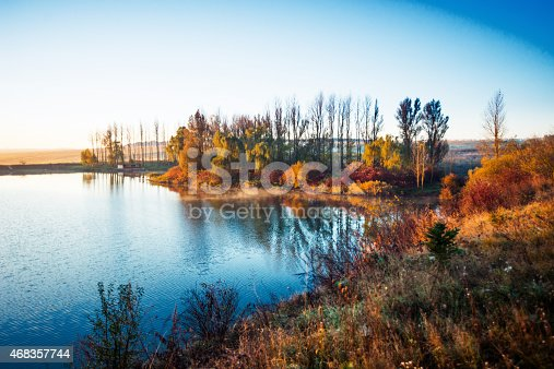 Colorful Autumn Foliage On Lake Stock Photo & More Pictures of 2015