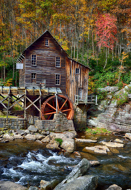 Colorful Autumn Glade Creek Gristmill West Virginia 2014 Colorful Autumn Glade Creek Gristmill West Virginia 2014 babcock state park stock pictures, royalty-free photos & images