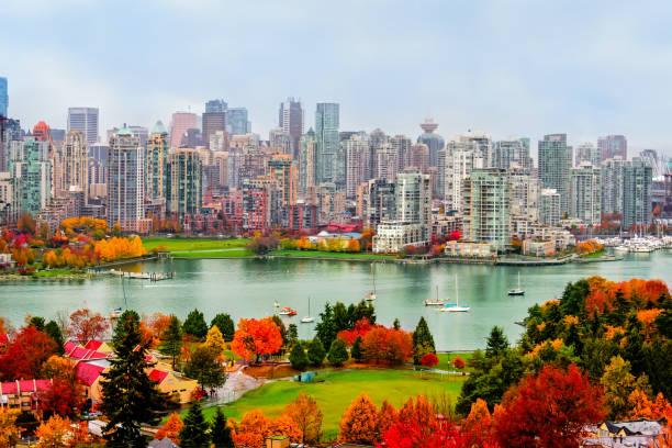 kleurrijke herfst landschap van een moderne stad aan de rivier - vancouver canada stockfoto's en -beelden
