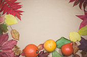 Colorful Autumn Leaves and Fruits on Beige Background