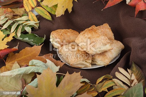 istock Colorful autumn leaves on wooden background, Top view. 1059159148