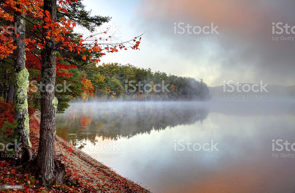 Colorful Autumn Mist in New Hampshire stock photo