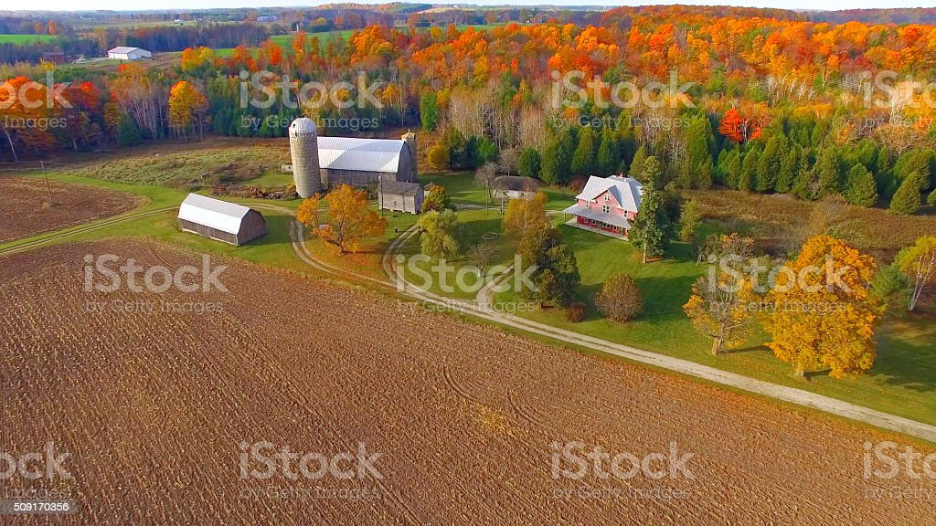 Colorful Autumn rural forest and farm landscape. stock photo