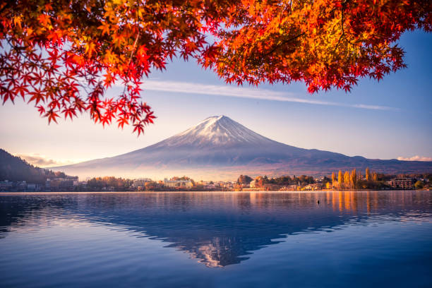 colorful autumn season and mountain fuji with morning fog and red leaves at lake kawaguchiko is one of the best places in japan - tokyo japan stock photos and pictures
