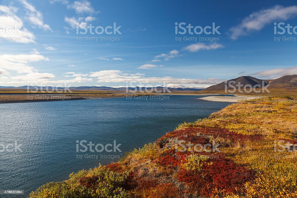 Colorful autumn tundra and river Amguema Arctic Circle, Russia stock photo