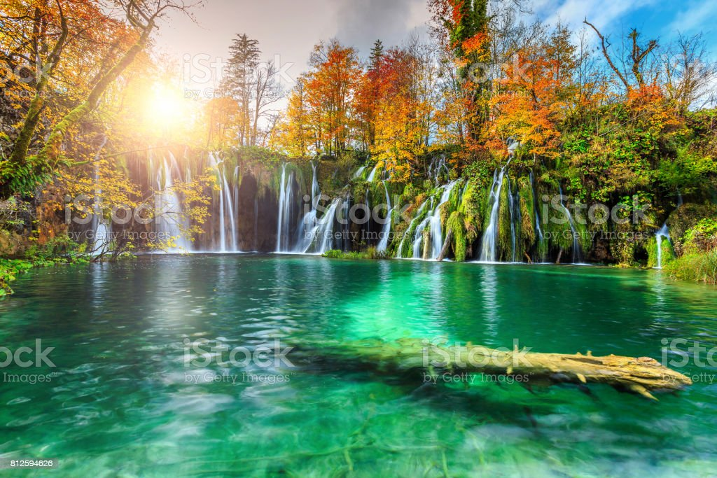 Colorful aututmn landscape with waterfalls in Plitvice National Park, Croatia stock photo