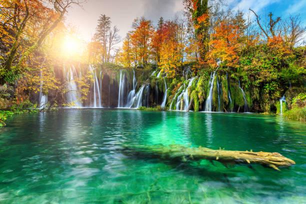 bunte aututmn landschaft mit wasserfällen im nationalpark plitvice, kroatien - nationalpark plitvicer seen stock-fotos und bilder