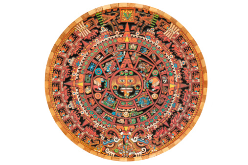 Colorful Aztec solar calendar