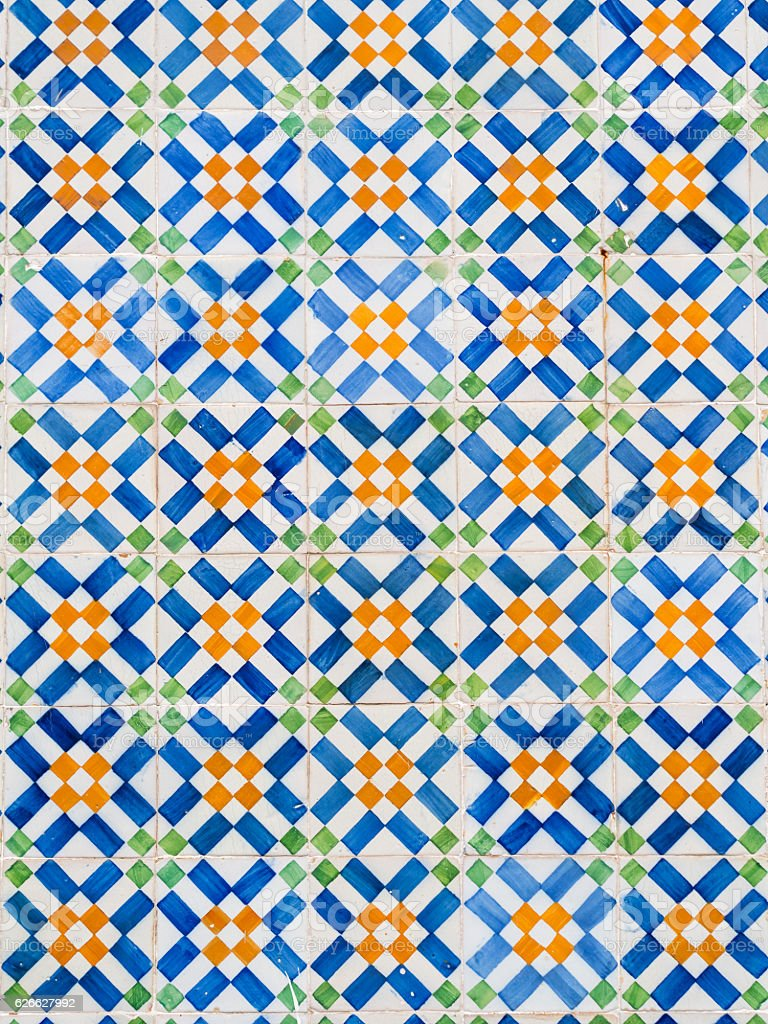 Colorful azulejos, old tiles in the Old Town of Lisbon stock photo