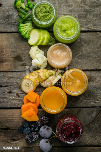 istock Colorful baby food purees in glass jars 898302694
